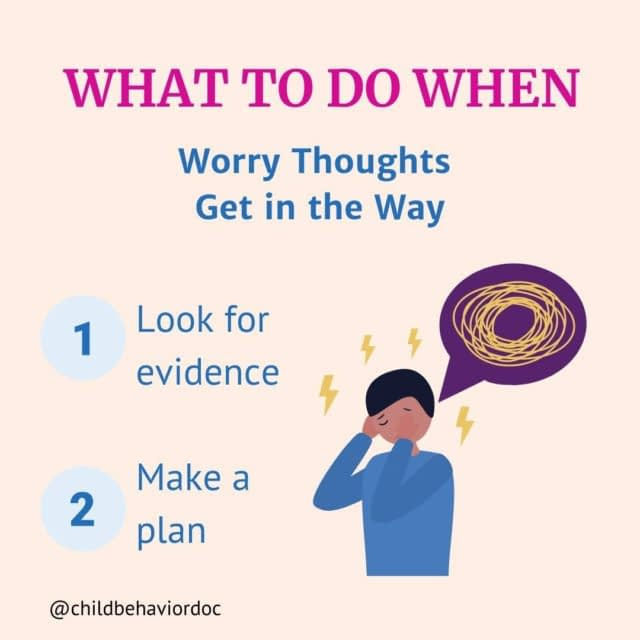 Follow @childbehaviordoc for evidence-based parenting support and child anxiety tips.  Anxious thoughts are a big component of what drives and maintains anxiety - in both kids and their grown-ups. Thoughts can be beliefs, values, or ideas. They are essentially what you say to yourself in your head. Thoughts play a huge role in how we feel.  In order to learn to tolerate anxiety, it's important to learn to challenge and tolerate anxious thoughts too. To do this, here are four questions you can ask yourself (or your child):  1) Are you expecting something bad to happen?  2) Do I have any clues that this might happen?  3) How likely is it that it would happen?  4) How could I handle it if it does happen?  Answers to these questions can become coping statements that you repeat to yourself (or that your child repeats to himself). Use the coping statement whenever you notice anxious thoughts popping up.  If you want more help with this, check out my FREE DOWNLOADABLE GUIDE all about coping skills for anxious kids. The link to download is in my bio. ☺️  Have you tried this with your child? Tell me about how it worked in the comments.  .  .  .  #childanxiety #childanxietyhelp #childanxietyawareness #childanxietydisorders #anxiousthoughts #anxietyinteens #anxietyinkids #childhoodanxiety  #evidencebasedtherapy #cbttherapist #anxietyexpert #copingskillsforteens #copingskillsforkids #cbttherapy #worrythoughts