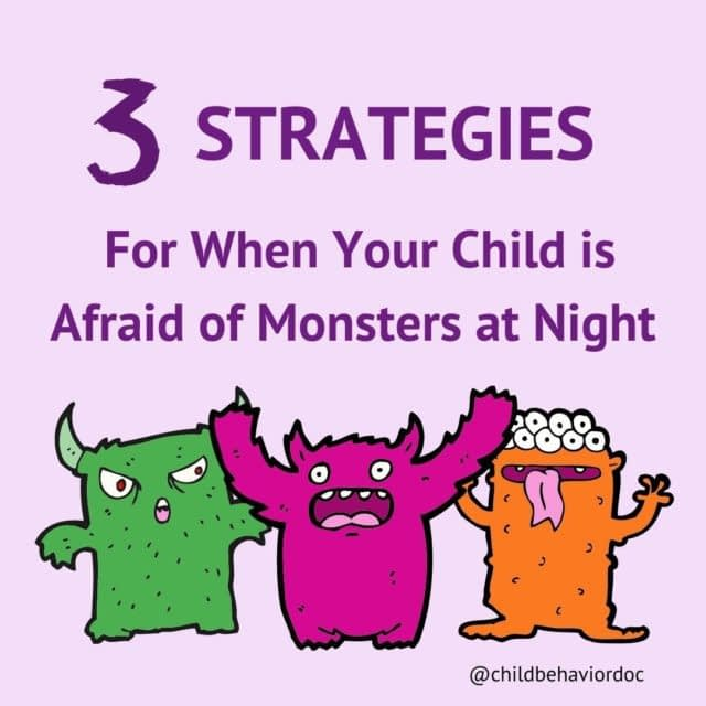 """By popular request! Here are 3 strategies to help when your child is afraid of monsters at night. 👀 ⠀ It might seem counterintuitive, but when fear strikes, the best thing to do is to actually practice confronting that fear over and over, in small, manageable steps. This goes for kids too! We just want to make sure that we make it playful and fun. ⠀ Are you a fan of scary movies? No? Me either. I hate bracing for the suspenseful parts, when the music builds and gets more tense, and you're just waiting for someone or something to pop out. Try this for a second - imagine a scene in a scary movie. What happened the first time you watched it? Maybe you jumped, or hugged your knees in close, or gave a shout. What if you watched that same scene 5 times in a row? What would your reaction be? What about 10 times? What about 100 times in a row? You'd probably be bored by that point. And you'd barely have a reaction because you learned to tolerate your anxiety, and you knew what to expect. ⠀ We can apply this same """"watch the scary scene 100 times until it gets boring"""" idea to monsters at night for kids. ⠀ Say something like, """"you know how those worries about monsters at night have been keeping you up? I think I know something that will help. I know it might seem a little weird or feel a little hard at first, but it's my job to help you with hard things. Soon we're going to try some activities to help."""" ⠀ 1. Have your child draw a picture of the monster(s). If he's too young to do that, have him describe the monster(s) to you while you draw it. Keep repeating this for several days (like the boring scary movie scene). ⠀ 2. Use the monsters that were drawn to tell silly/fun stories. Try in the daylight, in the late afternoon, and in rooms of your home that are darker, like a windowless bathroom or basement. Do this lots of times. ⠀ 3. Play games with the monsters you drew. Hide them in places around your home and give clues to find them. Set them up for a monster parade. Use the"""