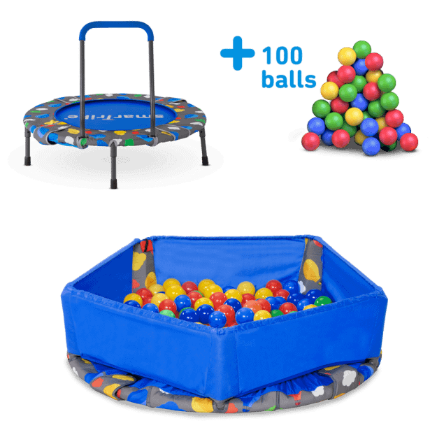 Image of smarTrike Indoor Toddler Trampoline with Handle - Ball Pit with 100 Balls Included - Foldable Kids Trampoline